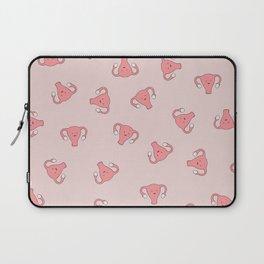 Crazy Happy Uterus in Pink, Large Laptop Sleeve