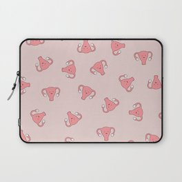 Crazy Happy Uterus in Pink, Large Laptop Sleeve