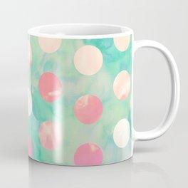 Retro Pink Polka Dots Hipster Turquoise Pattern Coffee Mug