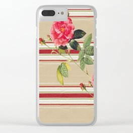 Shabby Chic Cottage Roses Clear iPhone Case