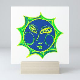 Smiling Green Sun with Blue Face Mini Art Print