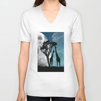 african V-neck T-shirts featuring African Nights by Bakmann Art
