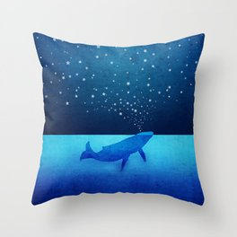 Whale Spouting Stars - Magical & Surreal Throw Pillow