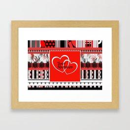 just Married Hearts red pattern II Framed Art Print