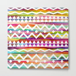 Aztek watercolor pattern Metal Print