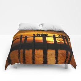 Sunset at U Bein Bridge, Myanmar Comforters