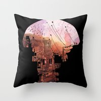 dragon ball z Throw Pillows featuring Secret Streets by David Fleck