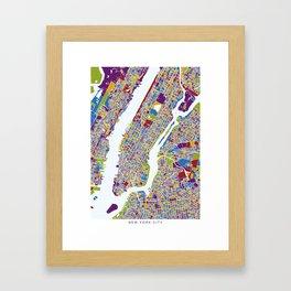 NEW YORK color map Framed Art Print