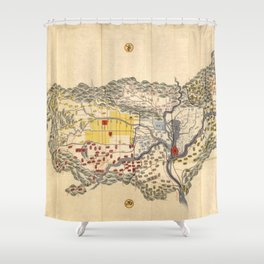 Map of Yamashiro province (with Kyoto), 19th century Japan Shower Curtain