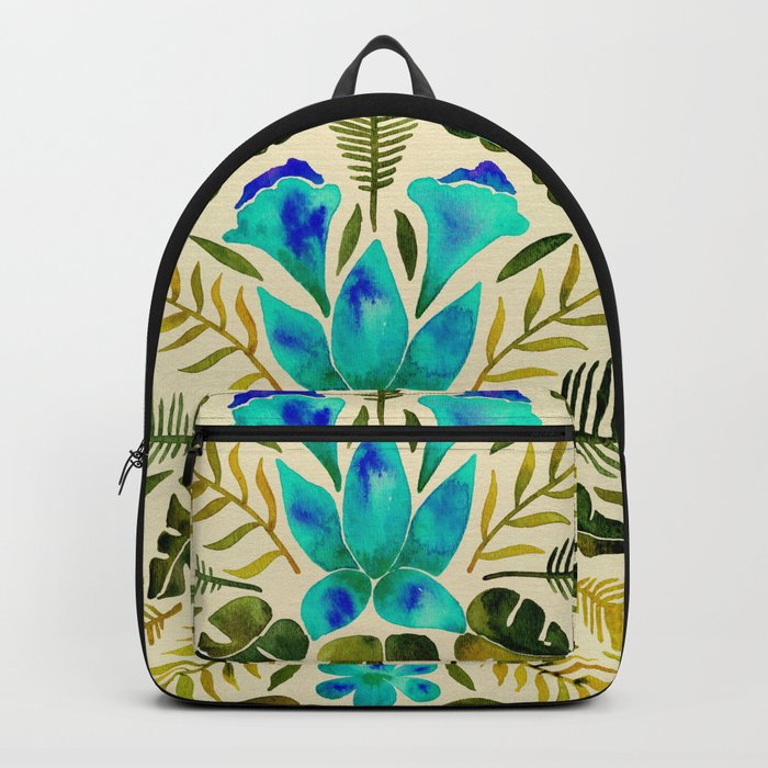 Tropical Symmetry – Turquoise & Olive Palette Backpack