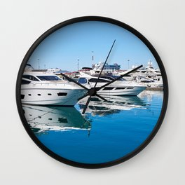 Sea Yacht Club in sunny day Wall Clock