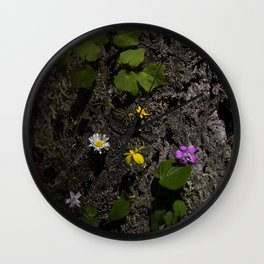 Oregon Spring Wildflowers Between Bark in Afternoon Light Wall Clock