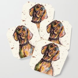 Hungarian Vizsla Dog Closeup Coaster