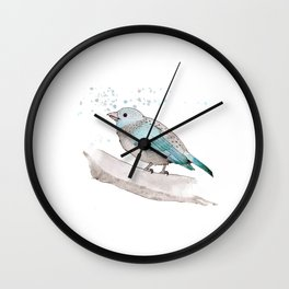 fat little blue bird  Wall Clock