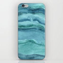 Watercolor Agate - Teal Blue iPhone Skin