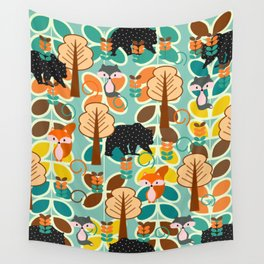 Magical forest with foxes and bears Wall Tapestry