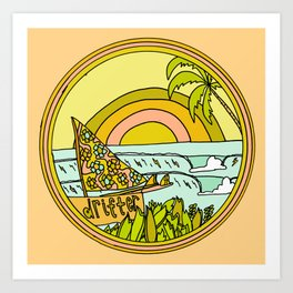 drifting to paradise surf art by surfy birdy Art Print