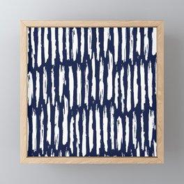 Vertical Dash White on Navy Blue Paint Stripes Framed Mini Art Print
