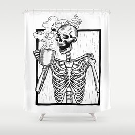 Skeleton Drinking a Cup of Coffee Shower Curtain