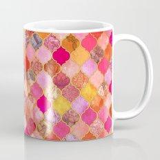 Hot Pink, Gold, Tangerine & Taupe Decorative Moroccan Tile Pattern Mug