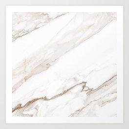 Cream White Marble Art Print