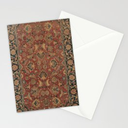 Flowery Boho Rug I // 17th Century Distressed Colorful Red Navy Blue Burlap Tan Ornate Accent Patter Stationery Cards