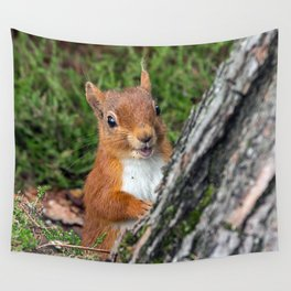 Nature woodland animals smiling squirrel Wall Tapestry
