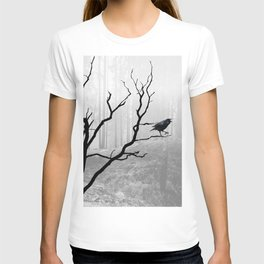 Black Crow in Foggy Forest A118 T-shirt