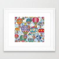 hot air balloon Framed Art Prints featuring Hot Air Balloon by Helene Michau