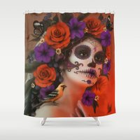 day of the dead Shower Curtains featuring Day of the Dead by Cellesria /Tanya Varga - Digital Artist