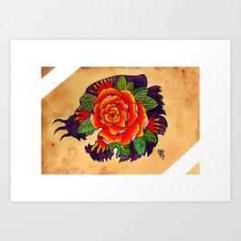 Tiger Rose Silhouette Art Print
