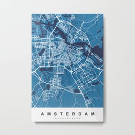 Amsterdam Map | Blue & Blue | More Colors, Review My Collections Metal Print