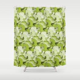 A faun riding an unicorn in green. Shower Curtain