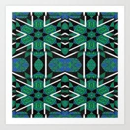 Quadrant Overlay Zigzag Tartan Mandala Art Print