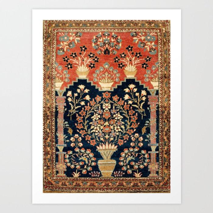 Kashan Poshti  Antique Central Persian Rug Print Kunstdrucke