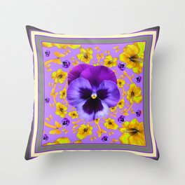 AMETHYST PANSIES YELLOW BUTTERFLIES & FLOWERS Throw Pillow