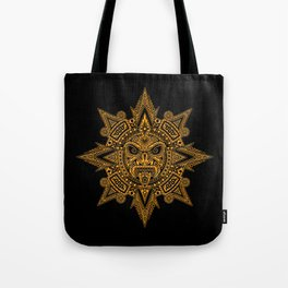 Ancient Yellow and Black Aztec Sun Mask Tote Bag