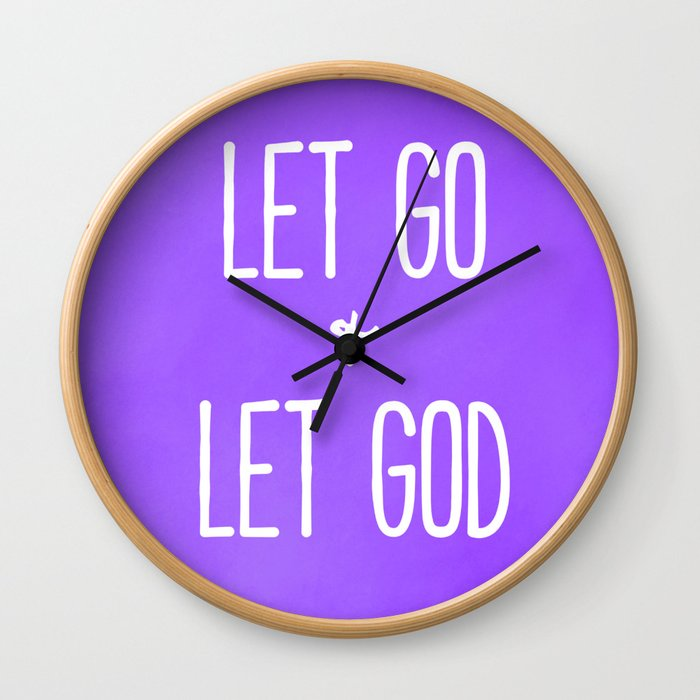 Let Go and Let God - Christian Typography Purple Version Wall Clock