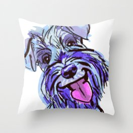 The Smiley Schnauzer Dog Love of my Life! Throw Pillow