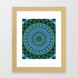 Blue and green mandala Framed Art Print
