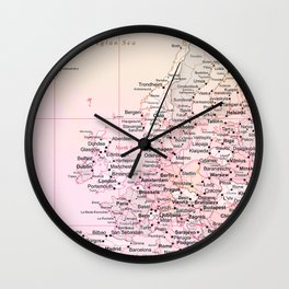 Rose Word Map Europe Wall Clock