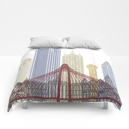 Dallas skyline poster Comforters