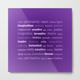 Fun With Colour & Words - Purple Metal Print