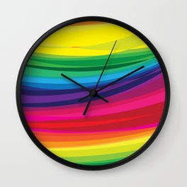 Bright Multicolored Rainbow Arcs Wall Clock