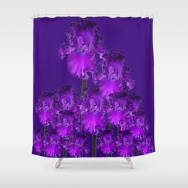 Contemporary Dark Purple Iris Garden Art Shower Curtain