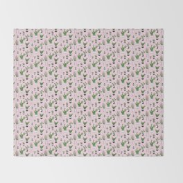 Cactus Love (in pink) Throw Blanket