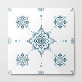Blue mandala tile Metal Print