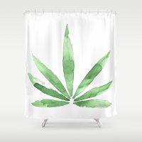 cannabis Shower Curtains featuring Cannabis   by kristinesarleyart