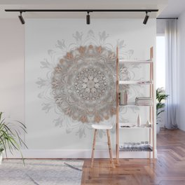 Rose Gold White Floral Mandala Wall Mural