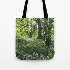 Wild Bluebells in ancient woodland. Wayland Wood, Norfolk, UK. Tote Bag